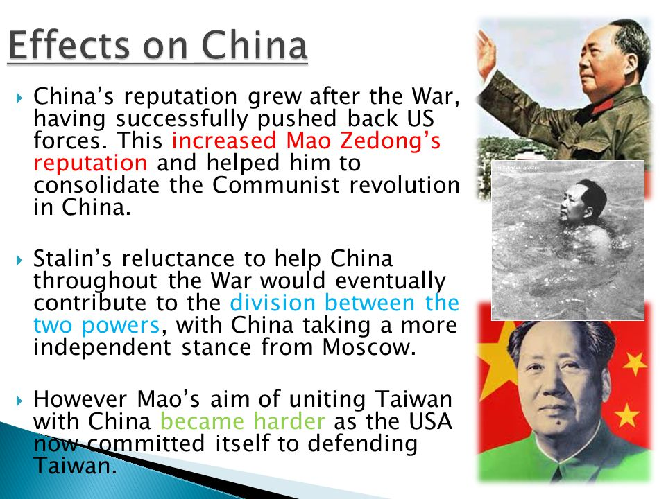  China's reputation grew after the War, having successfully pushed back US forces.
