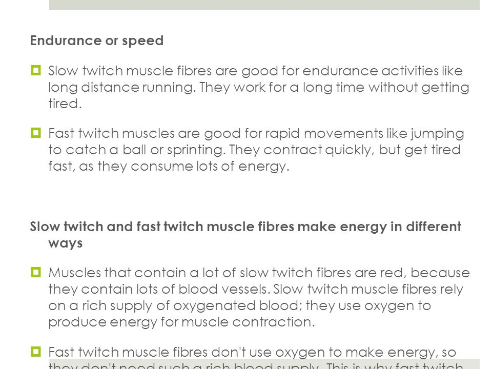 Endurance or speed  Slow twitch muscle fibres are good for endurance activities like long distance running.