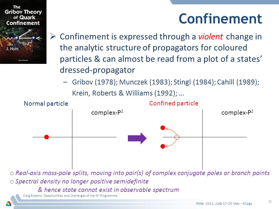 Confinement  Confinement is expressed through a violent change in the analytic structure of propagators for coloured particles & can almost be read from a plot of a states' dressed-propagator –Gribov (1978); Munczek (1983); Stingl (1984); Cahill (1989); Krein, Roberts & Williams (1992); … Craig Roberts: Opportunities and Challenges of the N* Programme.