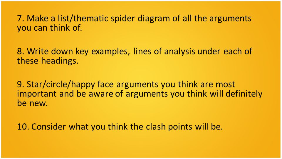 7. Make a list/thematic spider diagram of all the arguments you can think of.