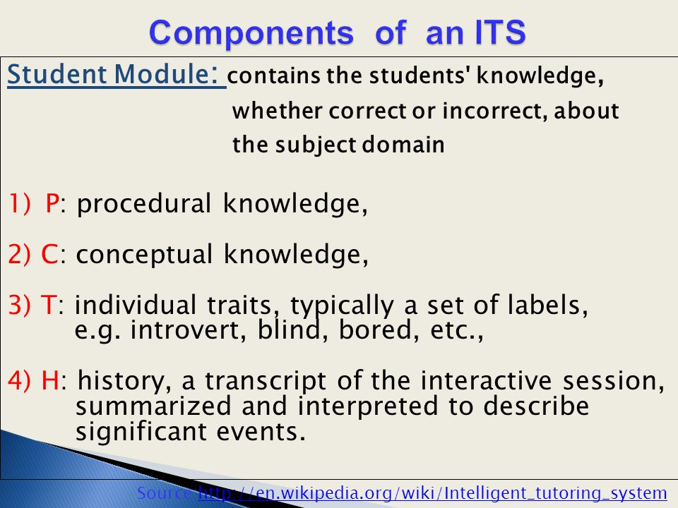 Student Module : contains the students' knowledge, whether correct or incorrect, about the subject domain 1)P: procedural knowledge, 2) C: conceptual