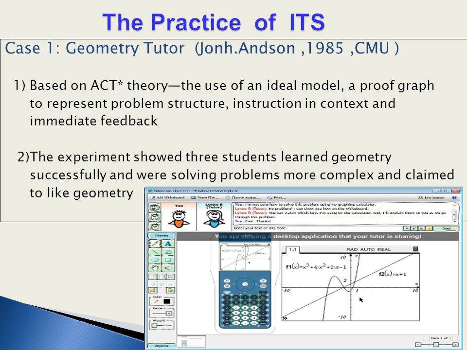 Case 1: Geometry Tutor (Jonh.Andson,1985,CMU ) 1) Based on ACT* theory—the use of an ideal model, a proof graph to represent problem structure, instru