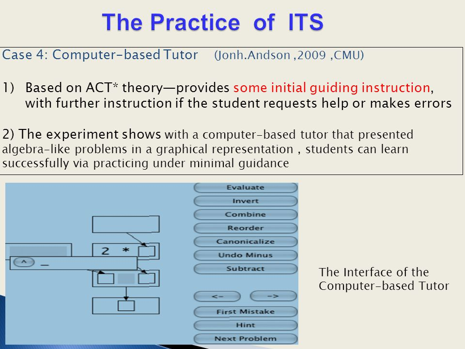 Case 4: Computer-based Tutor (Jonh.Andson,2009,CMU) 1)Based on ACT* theory—provides some initial guiding instruction, with further instruction if the