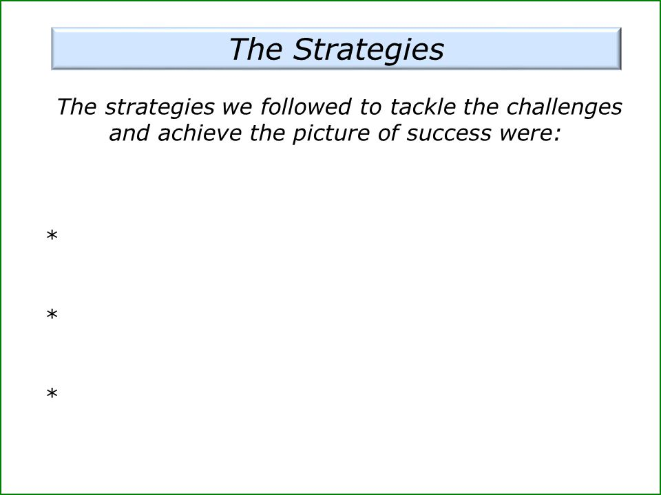 The strategies we followed to tackle the challenges and achieve the picture of success were: *