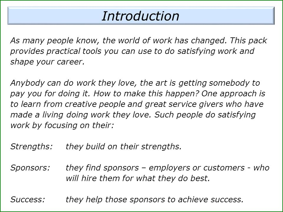 Looking at the sponsor's overall role, try to describe what you believe is their wider picture of success.