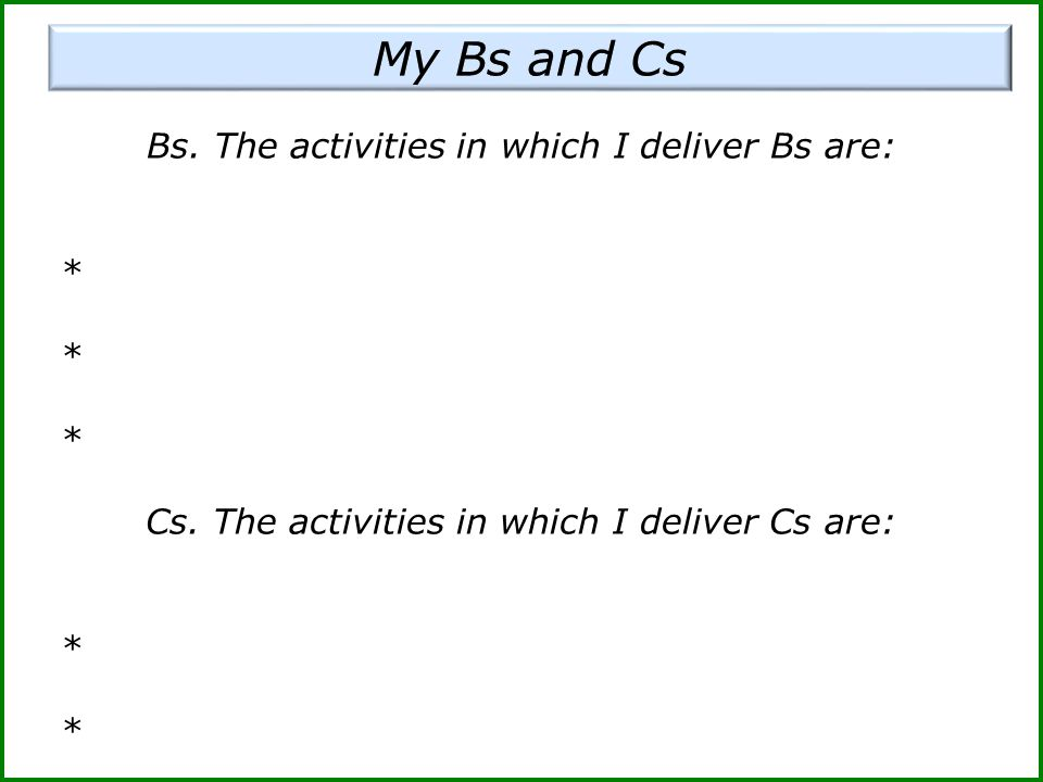 Bs. The activities in which I deliver Bs are: * Cs. The activities in which I deliver Cs are: *