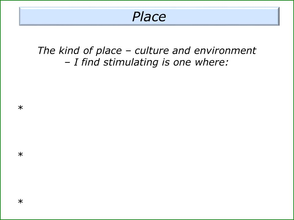 The kind of place – culture and environment – I find stimulating is one where: * * *