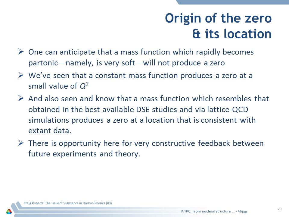 Origin of the zero & its location  One can anticipate that a mass function which rapidly becomes partonic—namely, is very soft—will not produce a zer