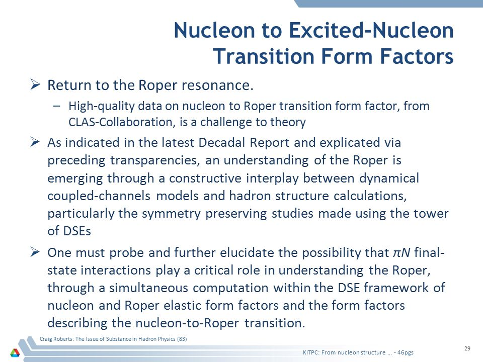 Nucleon to Excited-Nucleon Transition Form Factors  Return to the Roper resonance. –High-quality data on nucleon to Roper transition form factor, fro