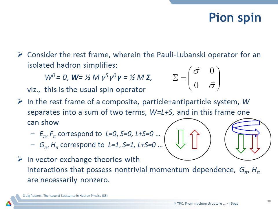 Pion spin  Consider the rest frame, wherein the Pauli-Lubanski operator for an isolated hadron simplifies: W 0 = 0, W= ½ M γ 5 γ 0 γ = ½ M Σ, viz., t