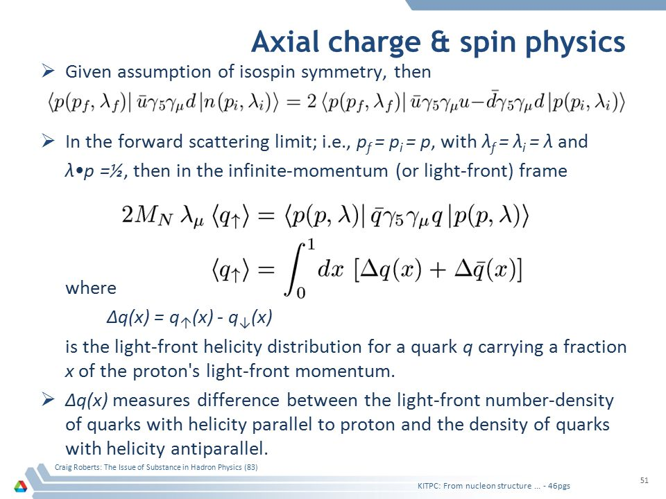 Axial charge & spin physics  Given assumption of isospin symmetry, then  In the forward scattering limit; i.e., p f = p i = p, with λ f = λ i = λ an