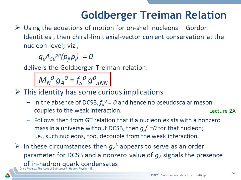 Goldberger Treiman Relation  Using the equations of motion for on-shell nucleons – Gordon Identities, then chiral-limit axial-vector current conserva