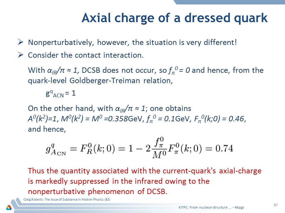 Axial charge of a dressed quark  Nonperturbatively, however, the situation is very different!  Consider the contact interaction. With α IR /π ≈ 1, D