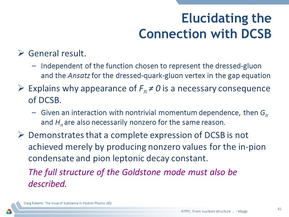 KITPC: From nucleon structure... - 46pgs Craig Roberts: The Issue of Substance in Hadron Physics (83) 61 Elucidating the Connection with DCSB  Genera