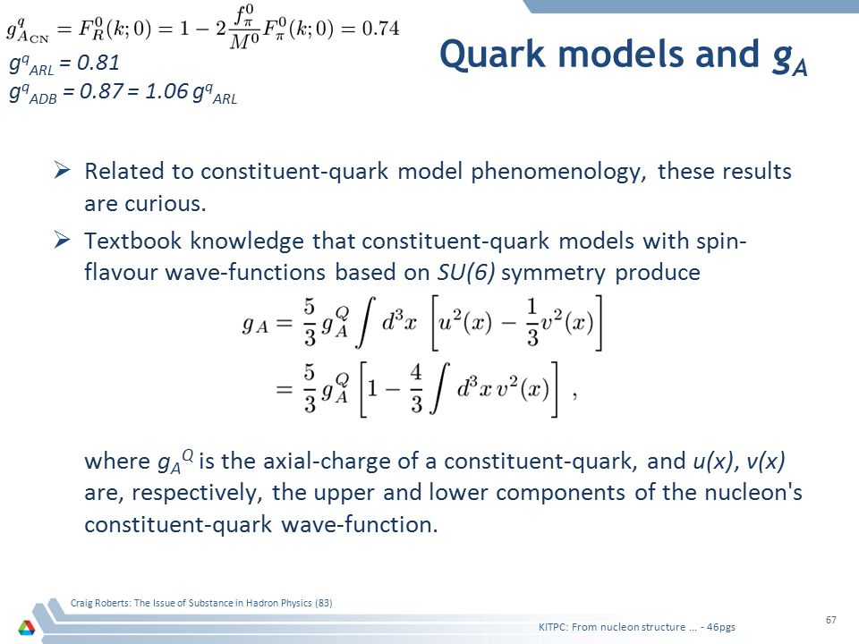 Quark models and g A  Related to constituent-quark model phenomenology, these results are curious.  Textbook knowledge that constituent-quark models