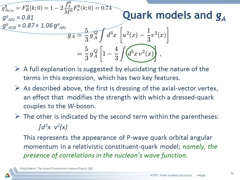 Quark models and g A  A full explanation is suggested by elucidating the nature of the terms in this expression, which has two key features.  As des