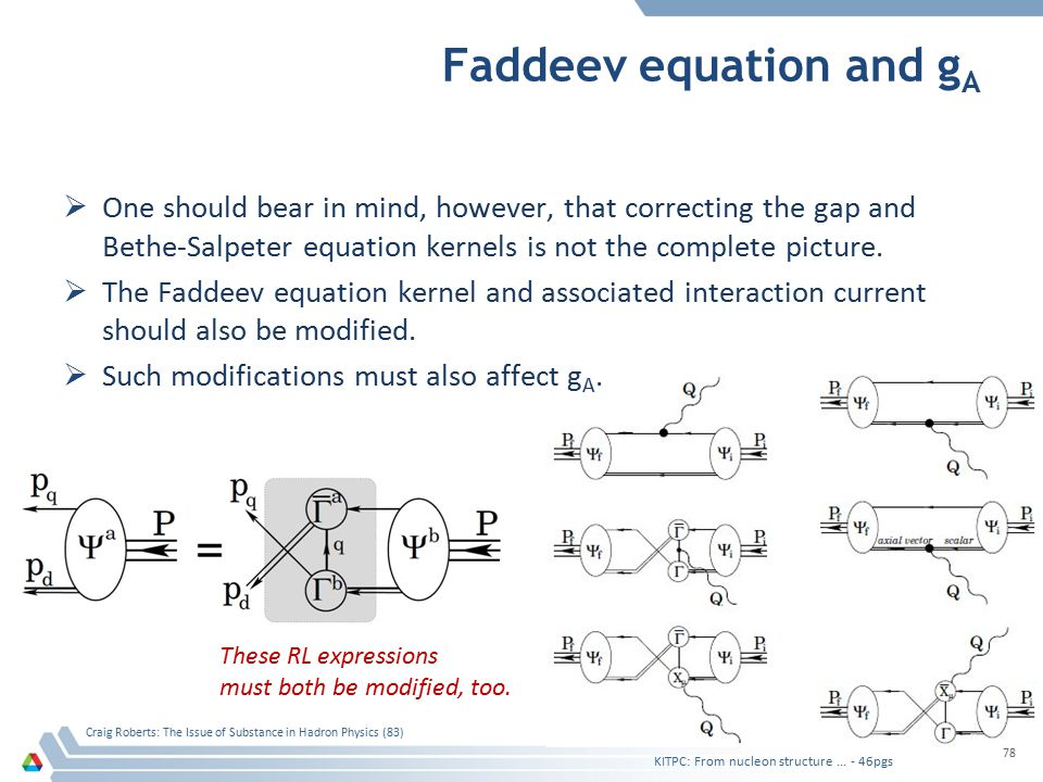 Faddeev equation and g A  One should bear in mind, however, that correcting the gap and Bethe-Salpeter equation kernels is not the complete picture.