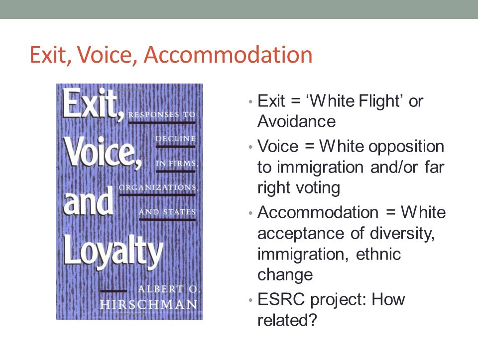 Exit, Voice, Accommodation Exit = 'White Flight' or Avoidance Voice = White opposition to immigration and/or far right voting Accommodation = White acceptance of diversity, immigration, ethnic change ESRC project: How related