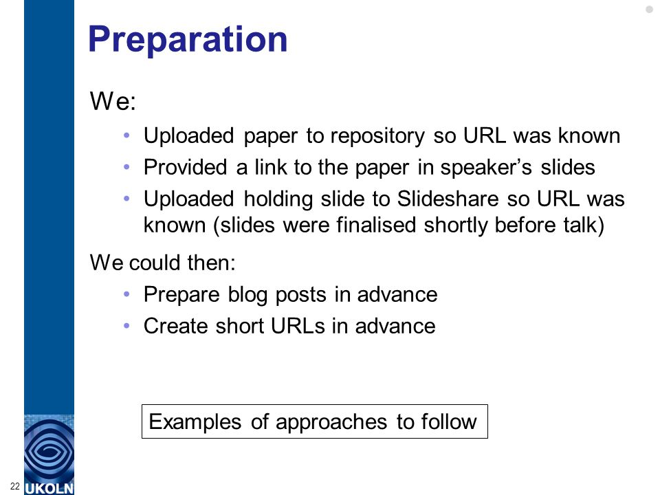 Preparation We: Uploaded paper to repository so URL was known Provided a link to the paper in speaker's slides Uploaded holding slide to Slideshare so