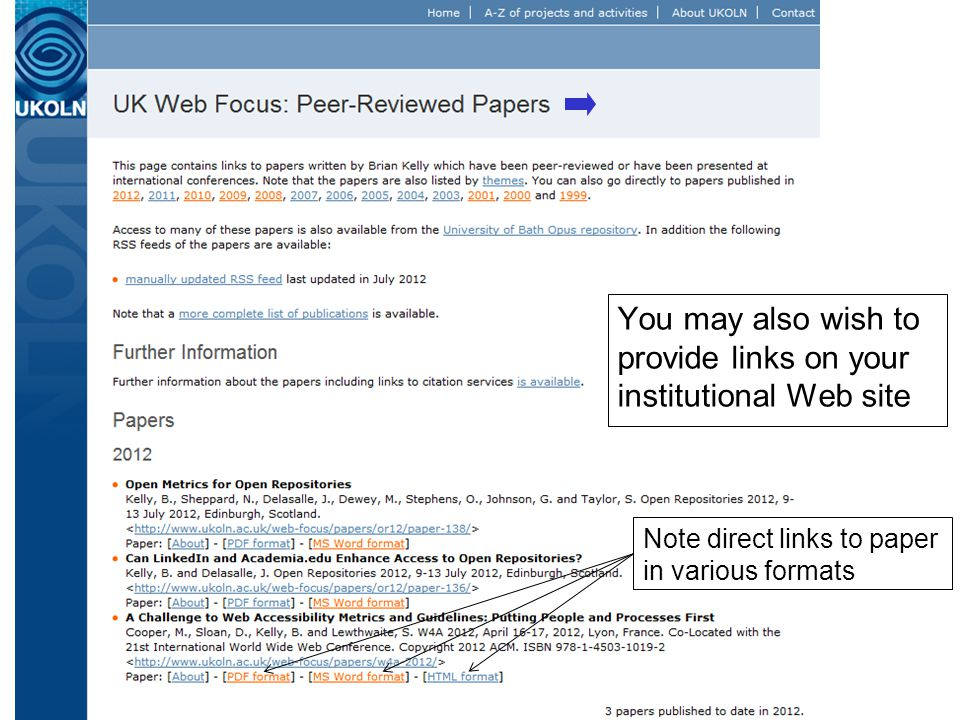 The Institutional Web Site 36 You may also wish to provide links on your institutional Web site Note direct links to paper in various formats