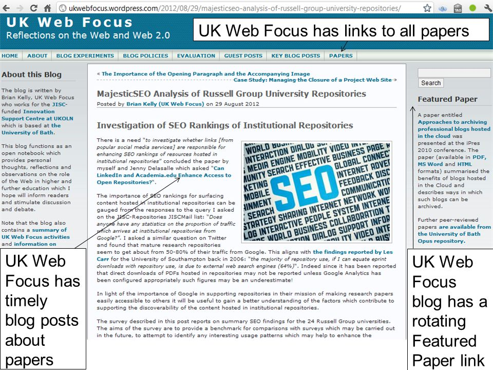 44 UK Web Focus blog has a rotating Featured Paper link UK Web Focus has timely blog posts about papers UK Web Focus has links to all papers