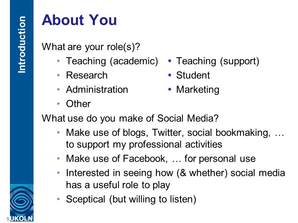 A centre of expertise in digital information managementwww.ukoln.ac.uk About This Talk This talk covers: Role of social media for the researcher How individual researchers are using social media to support their research activities Institutional use of social media Examples of institutional use of social media for marketing and engagement purposes Social media at events Case studies of how social media can be used at 'amplified events' Understanding and addressing the tensions How social media challenges mainstream approaches to engagement and dissemination and how resulting tensions can be addressed 6 Introduction