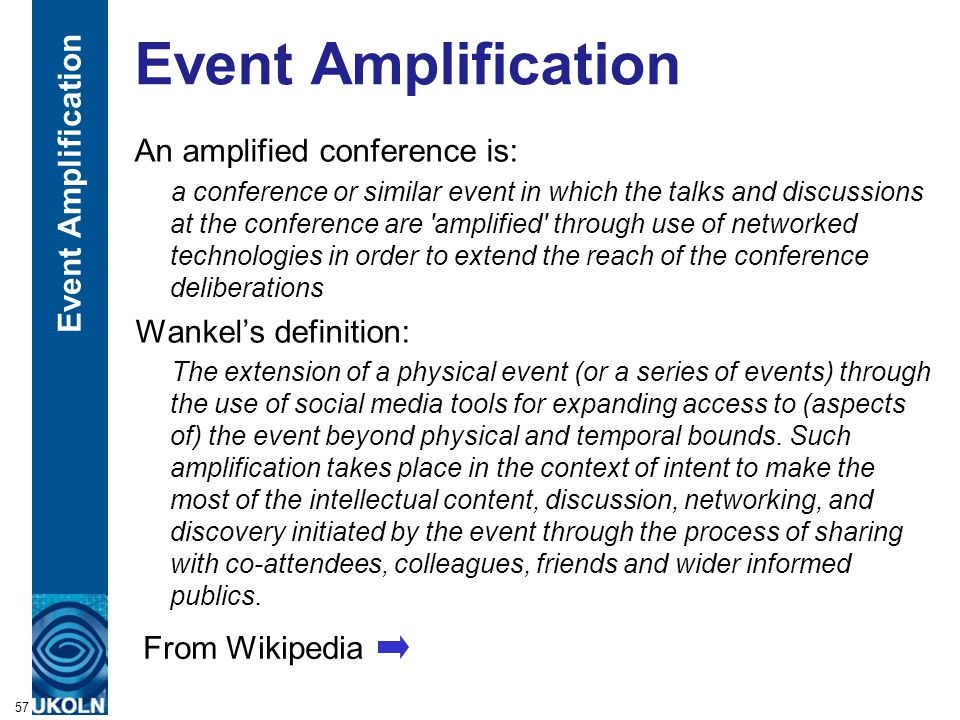 A centre of expertise in digital information managementwww.ukoln.ac.uk Event Amplification An amplified conference is: a conference or similar event i