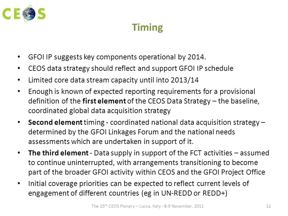 Timing GFOI IP suggests key components operational by 2014.