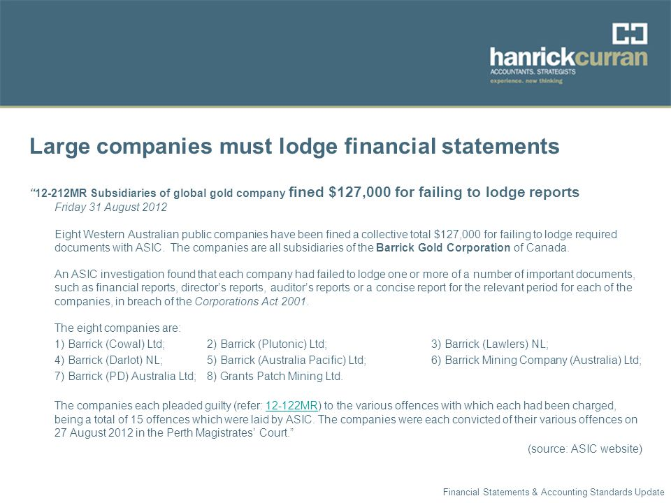 Large companies must lodge financial statements 12-212MR Subsidiaries of global gold company fined $127,000 for failing to lodge reports Friday 31 August 2012 Eight Western Australian public companies have been fined a collective total $127,000 for failing to lodge required documents with ASIC.