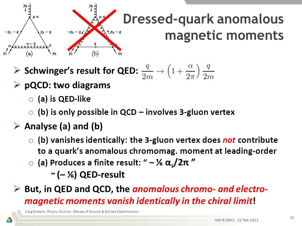 Dressed-quark anomalous magnetic moments  Schwinger's result for QED:  pQCD: two diagrams o (a) is QED-like o (b) is only possible in QCD – involves