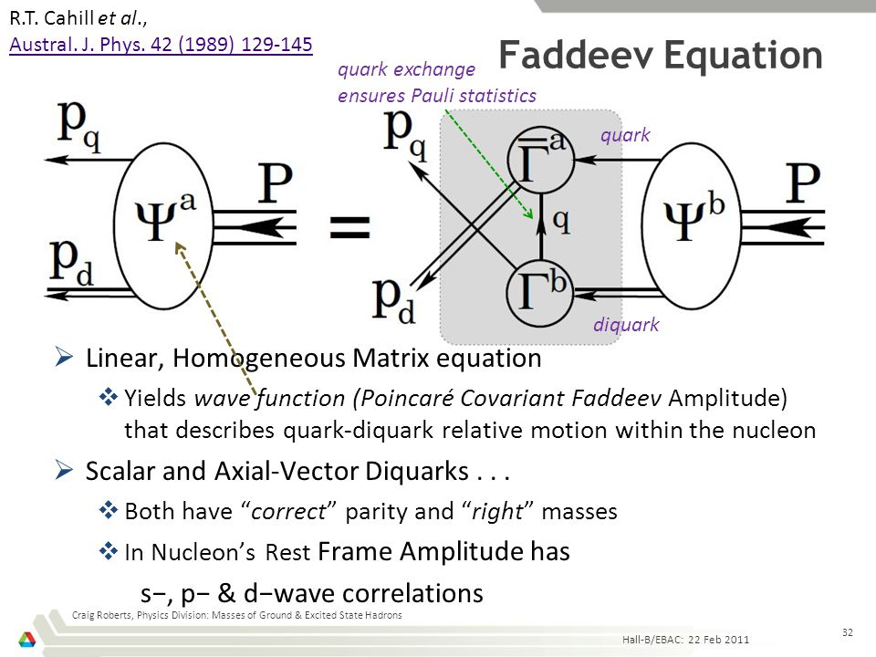 Faddeev Equation Craig Roberts, Physics Division: Masses of Ground & Excited State Hadrons 32  Linear, Homogeneous Matrix equation  Yields wave func