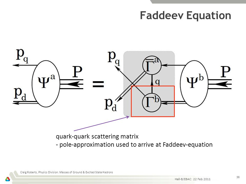 Faddeev Equation Hall-B/EBAC: 22 Feb 2011 Craig Roberts, Physics Division: Masses of Ground & Excited State Hadrons 36 quark-quark scattering matrix -
