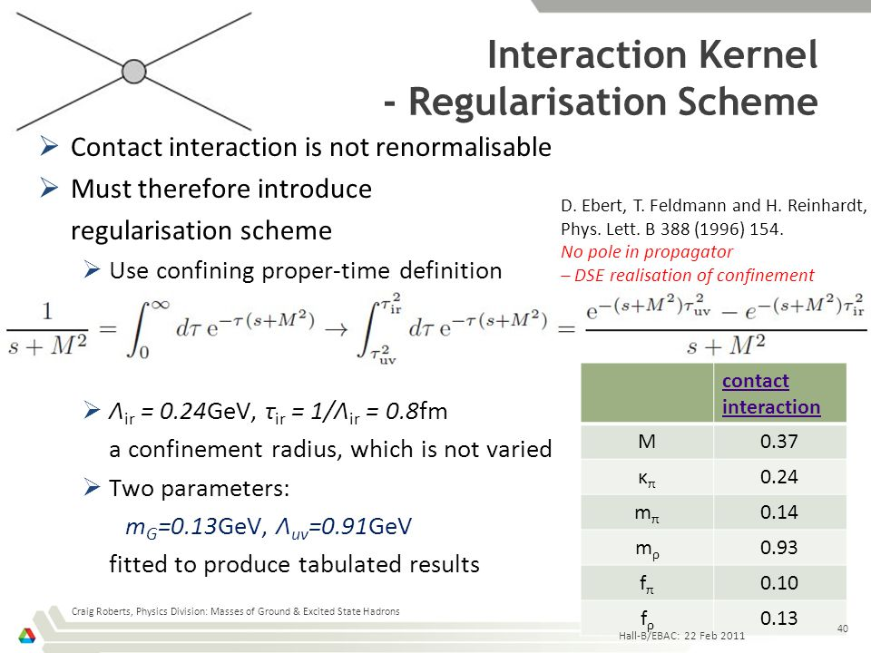 contact interaction M0.37 κπκπ 0.24 mπmπ 0.14 mρmρ 0.93 fπfπ 0.10 fρfρ 0.13  Contact interaction is not renormalisable  Must therefore introduce reg
