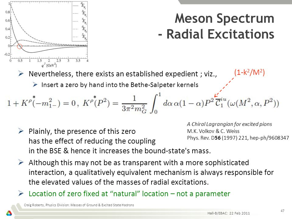 Meson Spectrum - Radial Excitations  Nevertheless, there exists an established expedient ; viz.,  Insert a zero by hand into the Bethe-Salpeter kern