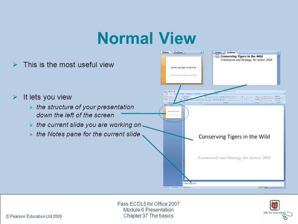Pass ECDL5 for Office 2007 Module 6 Presentation Chapter 37 The basics © Pearson Education Ltd 2009 Normal View  This is the most useful view  It le