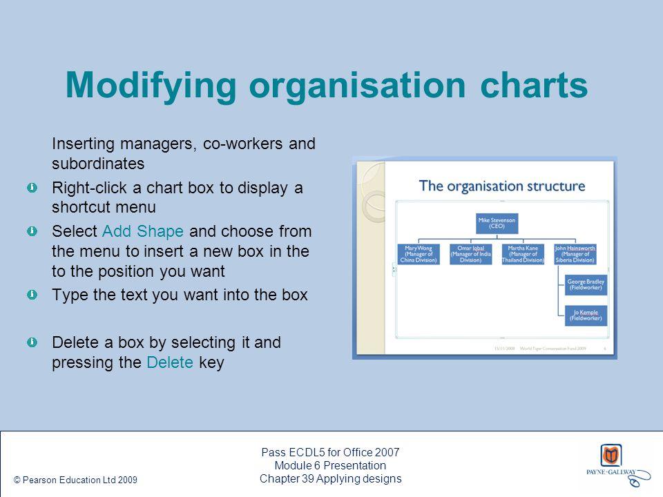 Pass ECDL5 for Office 2007 Module 6 Presentation Chapter 39 Applying designs © Pearson Education Ltd 2009 Modifying organisation charts Inserting mana