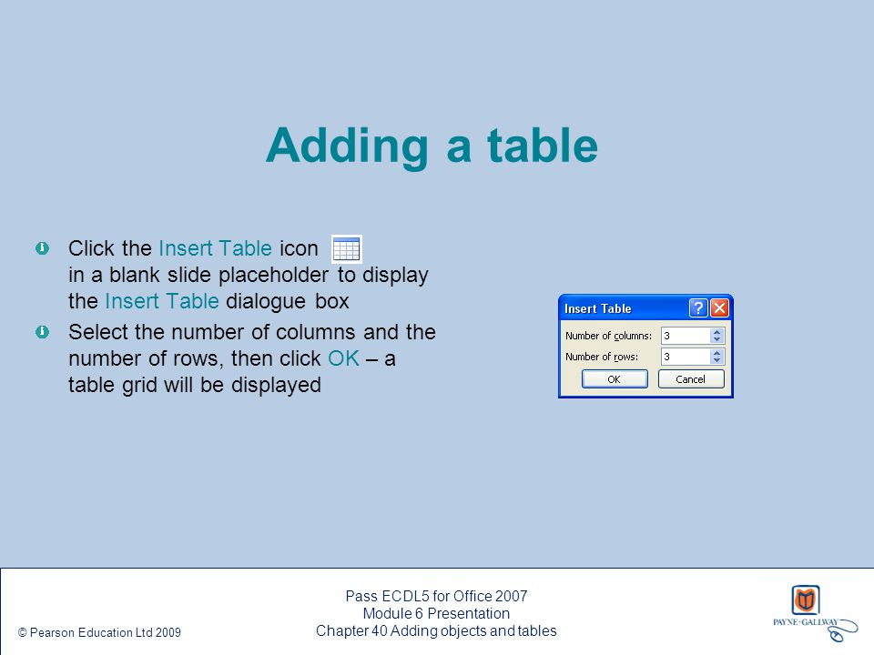 Adding a table Click the Insert Table icon in a blank slide placeholder to display the Insert Table dialogue box Select the number of columns and the