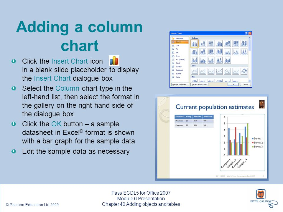 Pass ECDL5 for Office 2007 Module 6 Presentation Chapter 40 Adding objects and tables © Pearson Education Ltd 2009 Adding a column chart Click the Ins