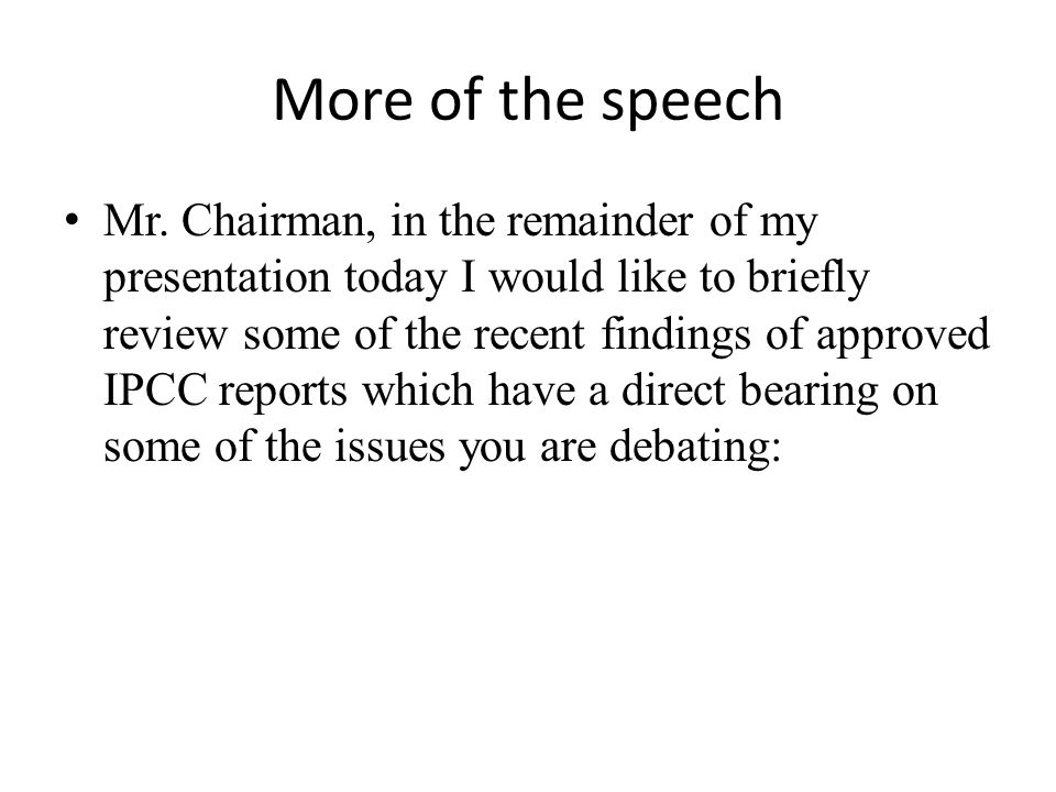 More of the speech Mr.