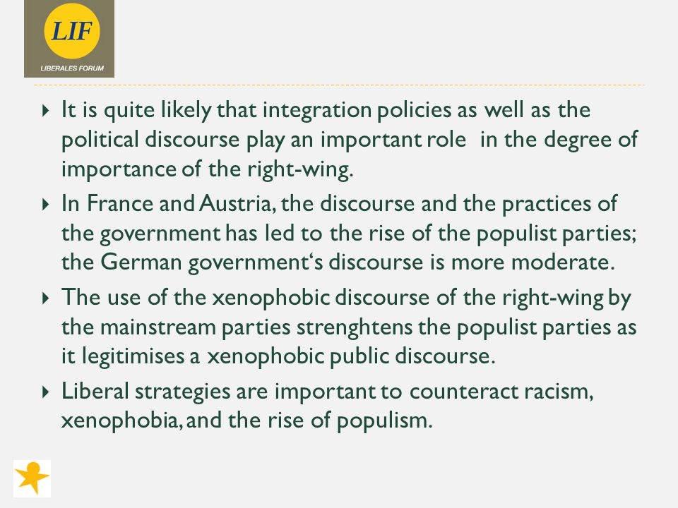  It is quite likely that integration policies as well as the political discourse play an important role in the degree of importance of the right-wing.