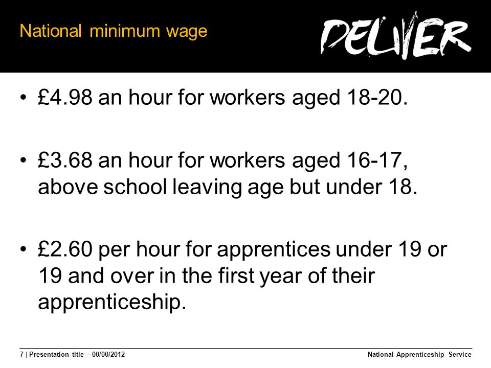 7 | Presentation title – 00/00/2012 National minimum wage £4.98 an hour for workers aged 18-20.