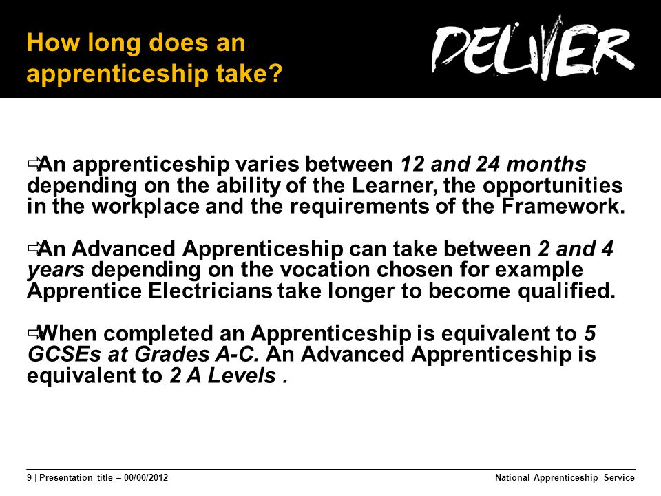 9 | Presentation title – 00/00/2012 How long does an apprenticeship take.