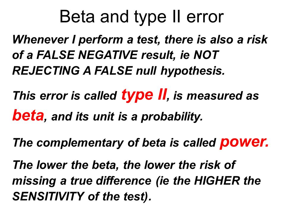 Beta and type II error Whenever I perform a test, there is also a risk of a FALSE NEGATIVE result, ie NOT REJECTING A FALSE null hypothesis.