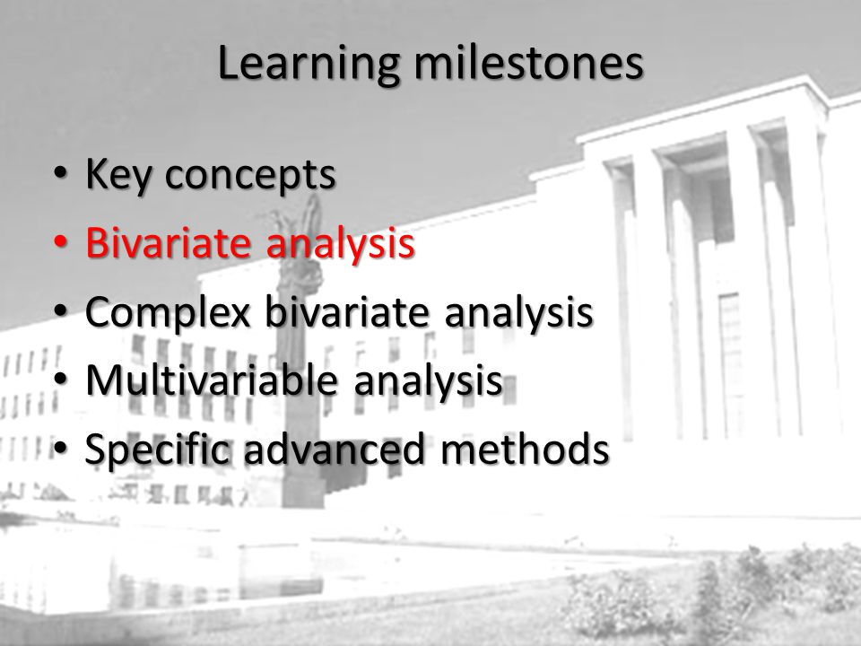 Learning milestones Key concepts Key concepts Bivariate analysis Bivariate analysis Complex bivariate analysis Complex bivariate analysis Multivariable analysis Multivariable analysis Specific advanced methods Specific advanced methods