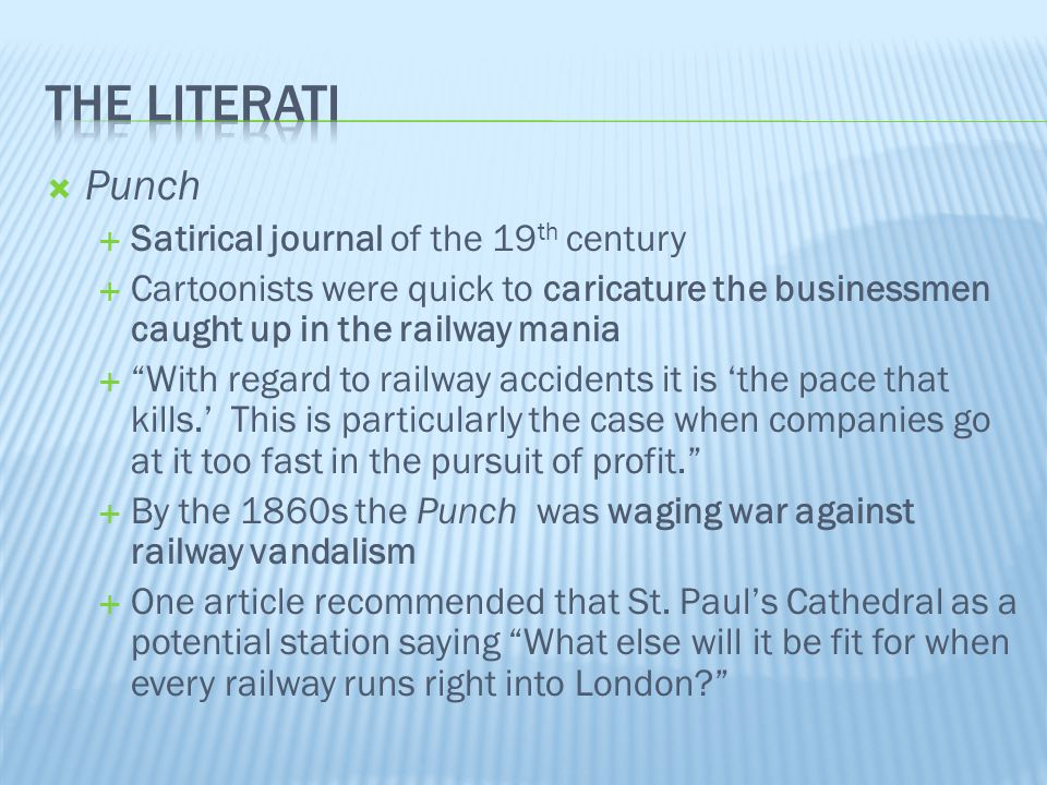 """ Punch  Satirical journal of the 19 th century  Cartoonists were quick to caricature the businessmen caught up in the railway mania  """"With regard"""