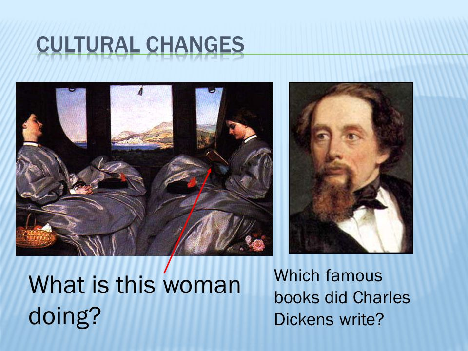 What is this woman doing? Which famous books did Charles Dickens write?