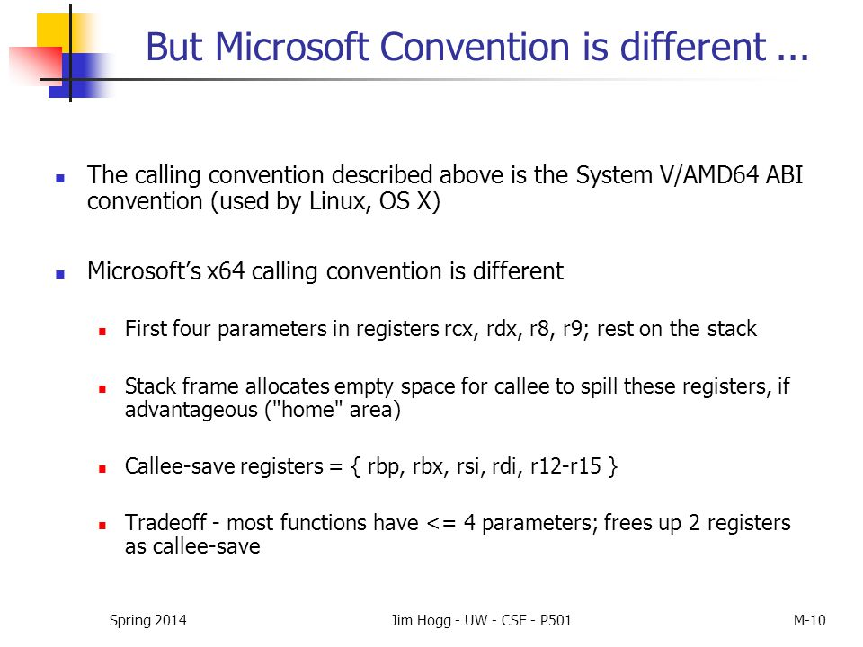 But Microsoft Convention is different... The calling convention described above is the System V/AMD64 ABI convention (used by Linux, OS X) Microsoft's