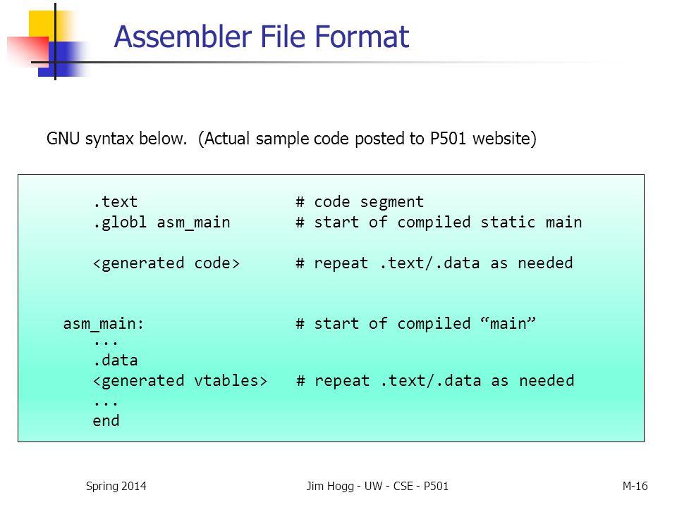 """Assembler File Format.text# code segment.globl asm_main # start of compiled static main # repeat.text/.data as needed asm_main:# start of compiled """"ma"""