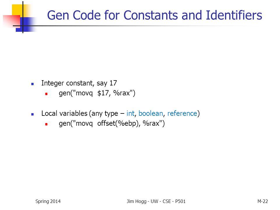 Spring 2014Jim Hogg - UW - CSE - P501M-22 Gen Code for Constants and Identifiers Integer constant, say 17 gen(