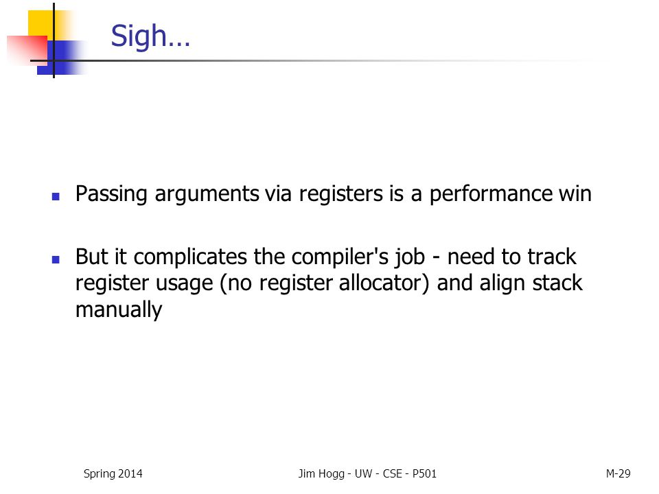 Sigh… Passing arguments via registers is a performance win But it complicates the compiler's job - need to track register usage (no register allocator